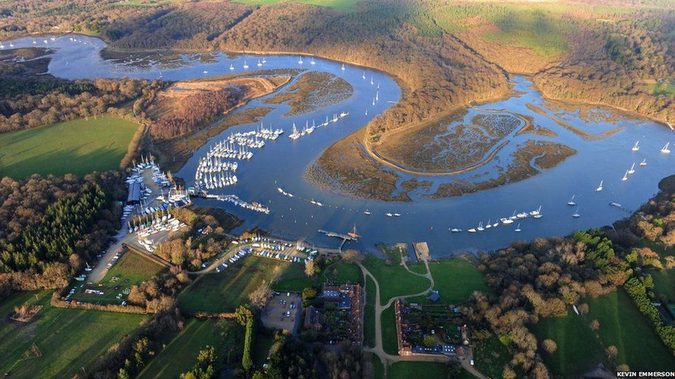 Aerial view of the River Beaulieu