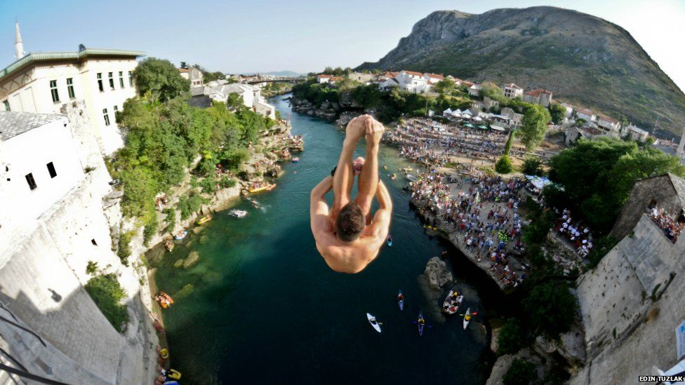 A man jumps from Old Bridge in Mostar
