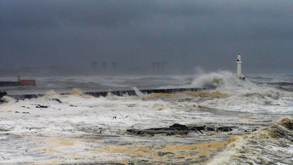 Foamy sea off Aberdeen