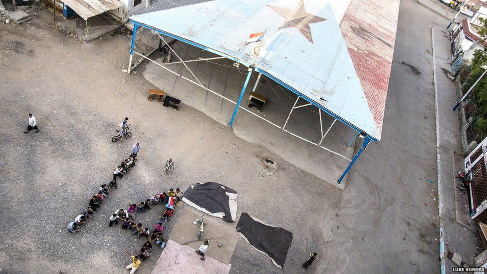 Youths at Southern Movement headquarters in Aden anticipate the arrival of the 14 October holiday. Photo: Luke Somers