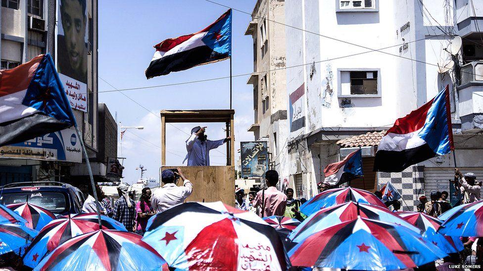 Outdoor gathering in Aden. Photo: Luke Somers