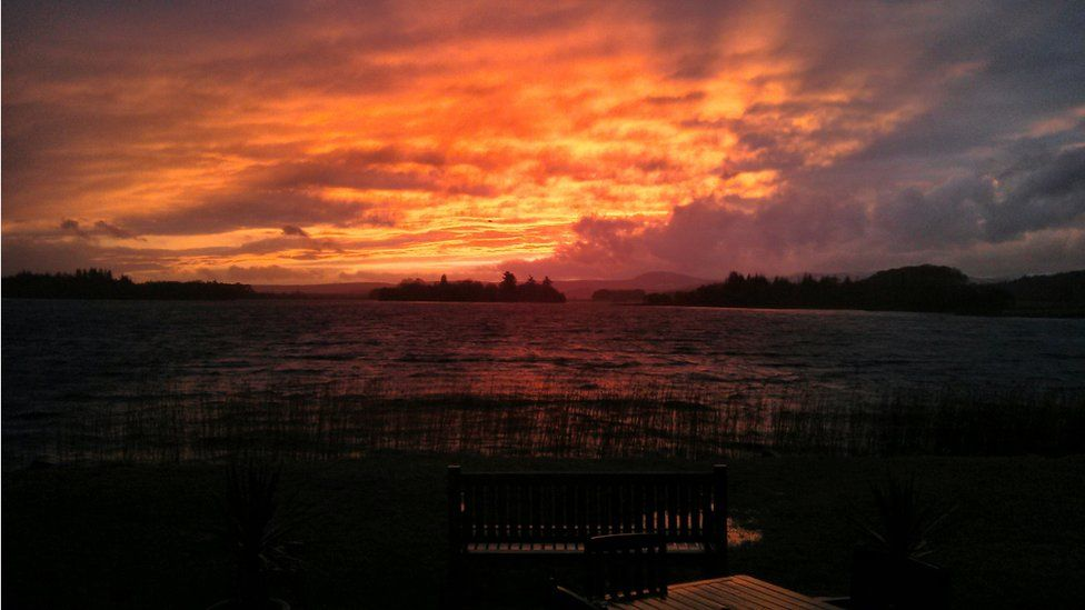 Sunset over Lake of Menteith