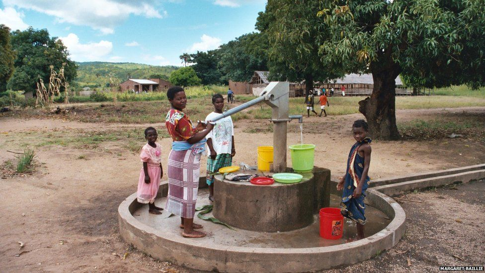 Pumping water at a well