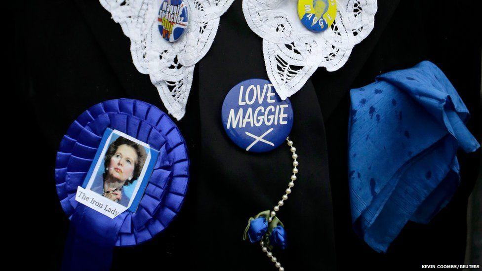Gloria Martin, a supporter of former British prime minister Margaret Thatcher