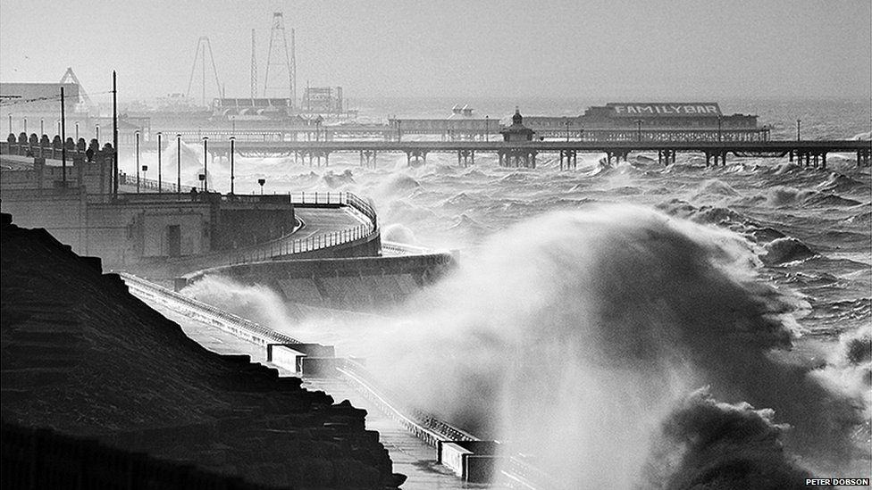 Stormy day on Blackpool's coast, Lancashire by Peter Dobson