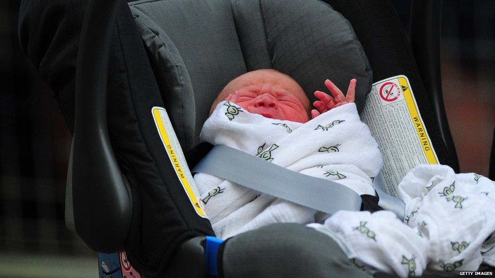 Baby prince is driven home