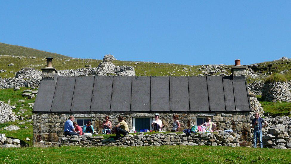People having a picnic on St Kilda