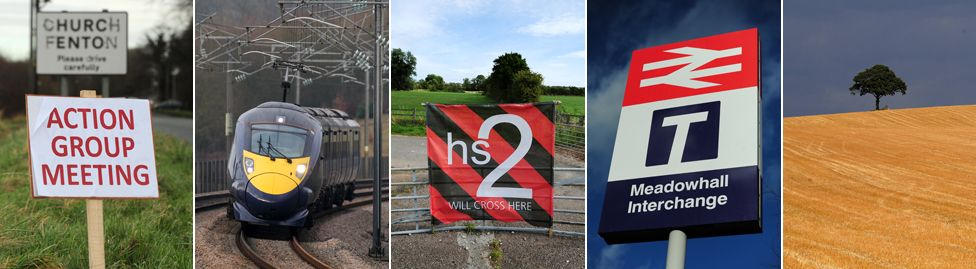 """HS2 pictures: Church Fenton """"Action Group Meeting"""" sign; high speed train; """"HS2 will cross here"""" banner; Meadowhall Interchange sign; empty field with tree"""