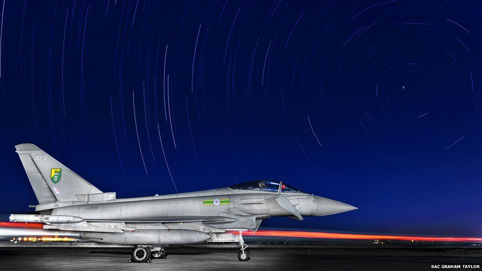 Typhoon under the night sky in the Middle East