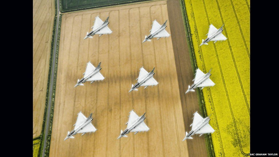 Typhoon aircraft over Lincolnshire