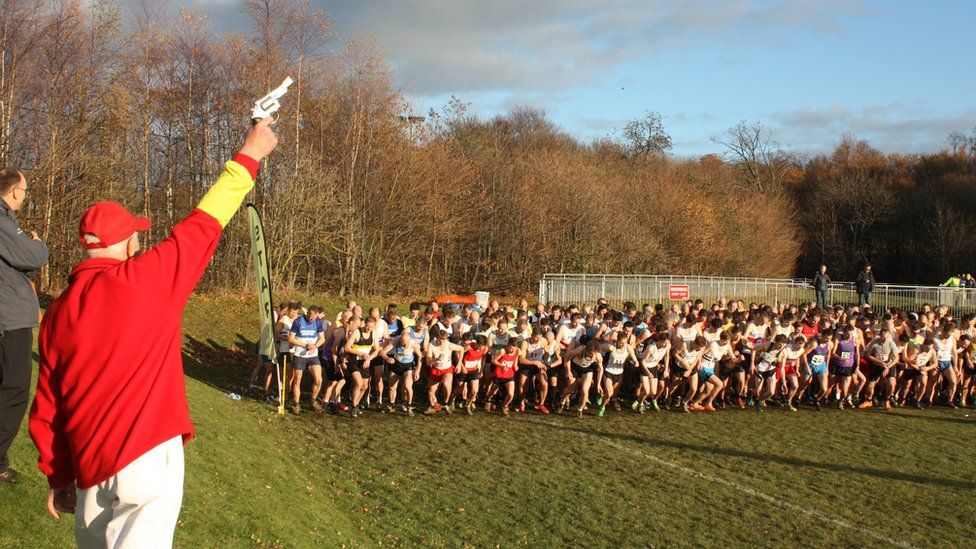 Start of a cross country race