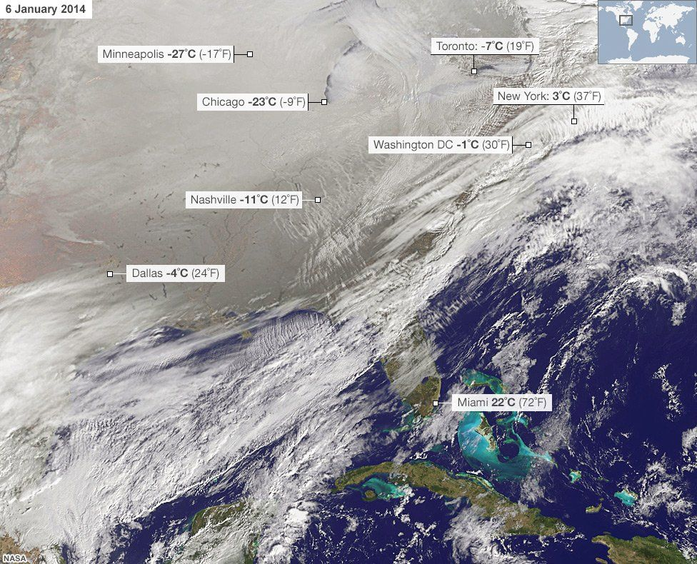 Satellite image showing much of North America under a blanket of snow on 6 January