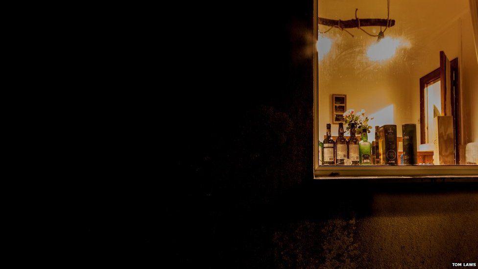 Window in a dark wall