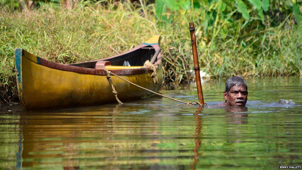A man fishing for river mussels in Kerala