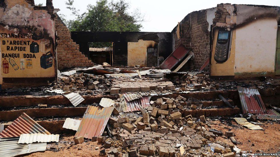 The ruins of a Muslim market in Boda - Central African Republic, February 2014