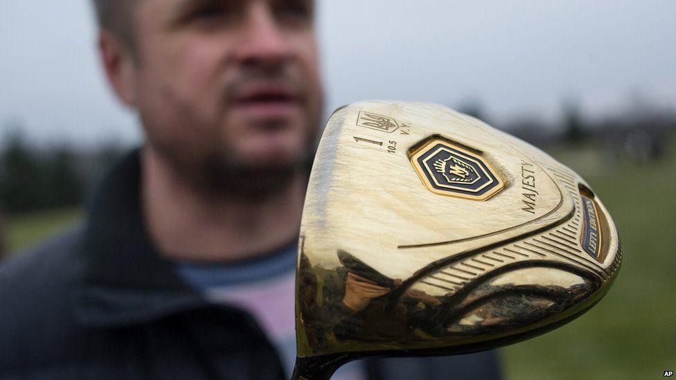 Golf clubs that belonged to Viktor Yanukovych