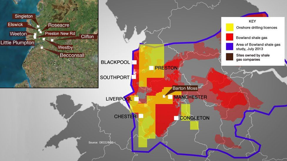 Map of drilling licences, shale gas and locations in the North West