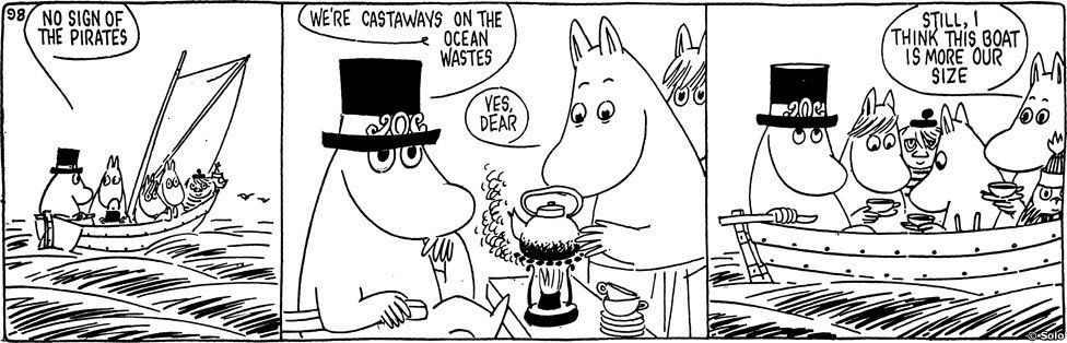 Moomins in comic strip from Moomin and the sea