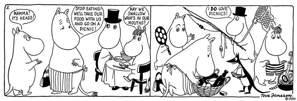 Moomins at a picnic - Comic strip from Moomin and the sea