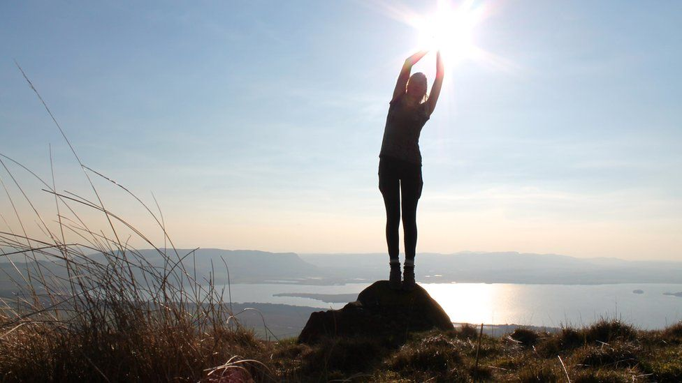 Woman standing on Bishop Hill
