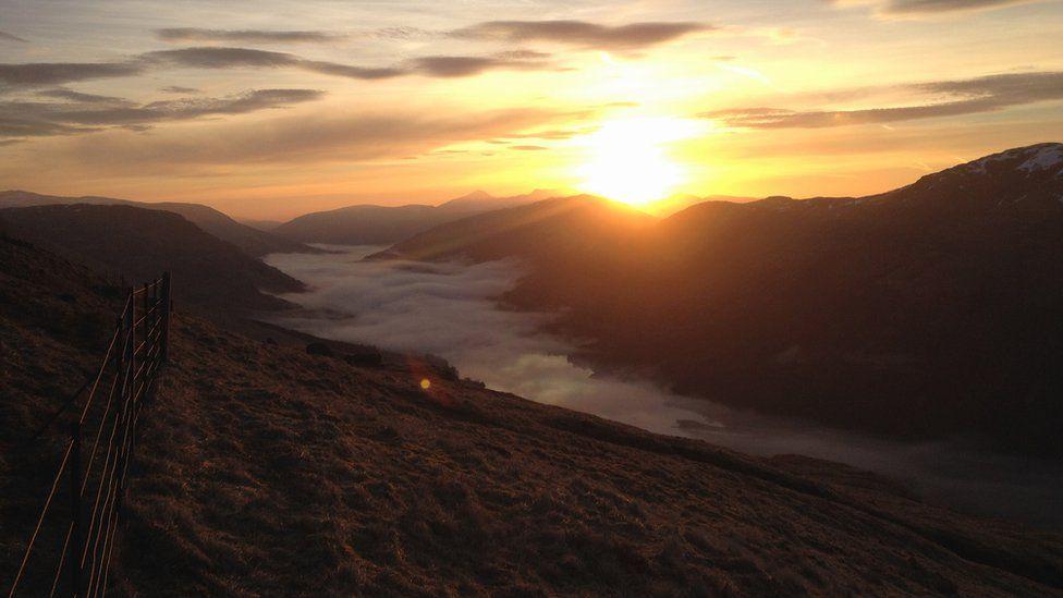 Sunrise over Loch Voil and Stob Binnein