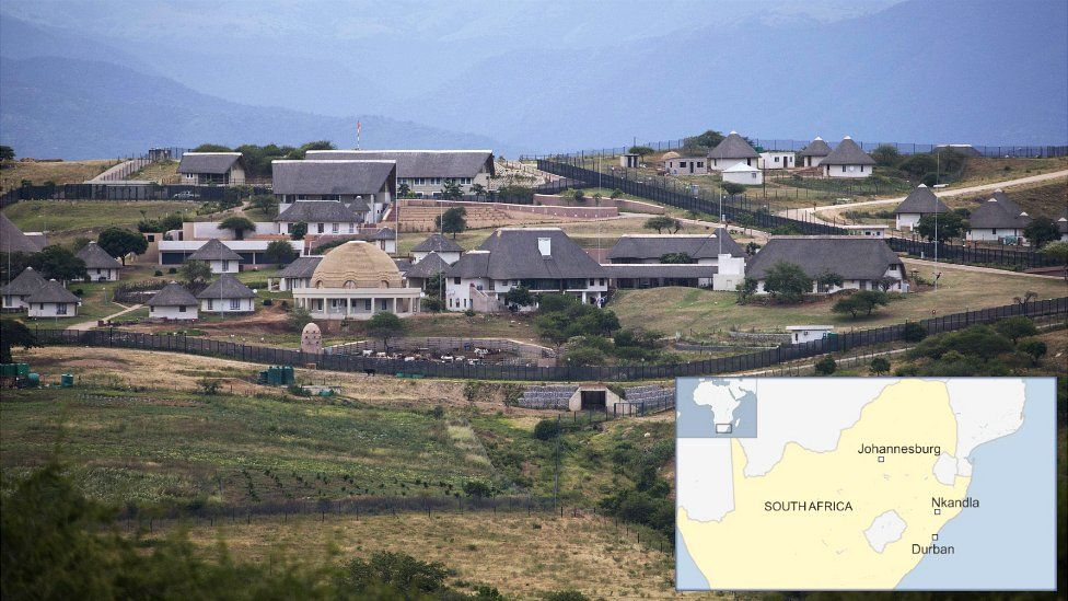 A photo of President Jacob Zuma's home in Nkandla - and a map showing its location