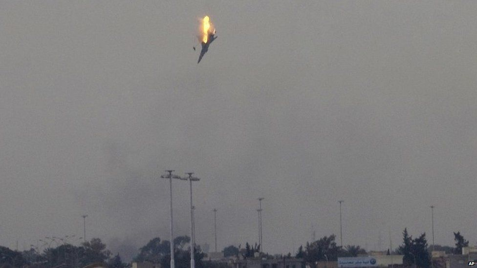 A Libyan government aircraft is shot down over Benghazi. Photo: 2011