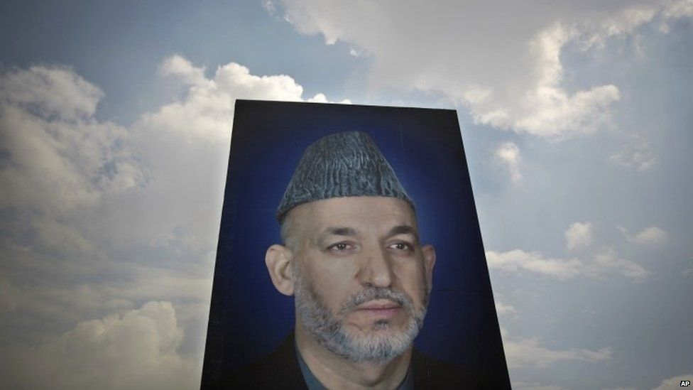 A photo of a giant poster of Afghan President Hamid Karzai on the parade ground in Kabul. Photo: March 2014