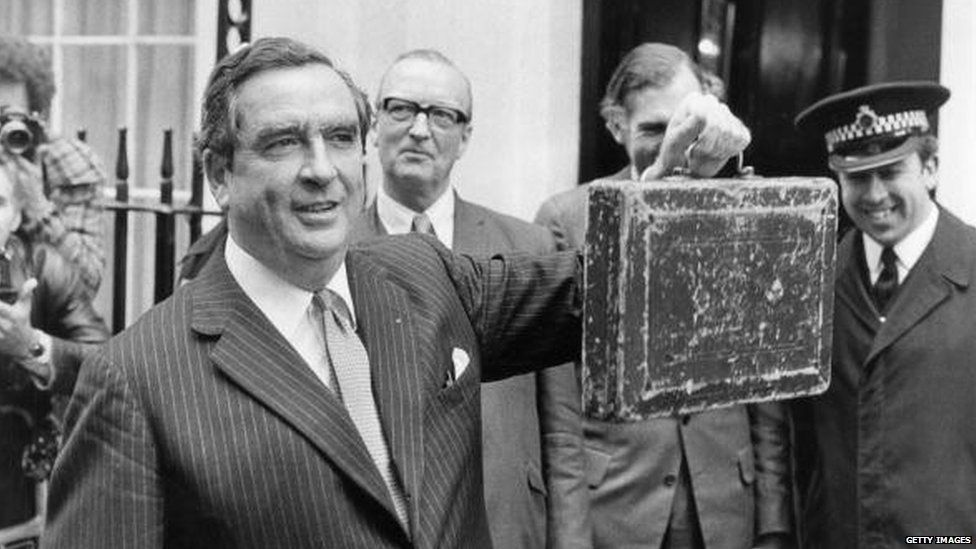Healey with his first budget box outside Downing Street