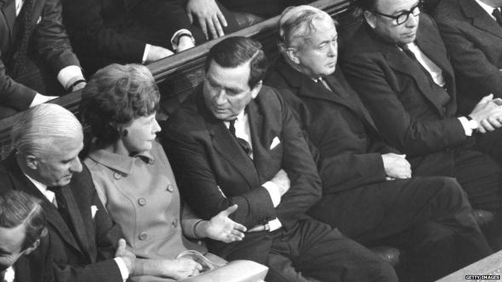 Denis Healey pictured on the opposition front bench in the Commons, alongside Michael Stewart, Barbara Castle, Harold Wilson and Roy Jenkins