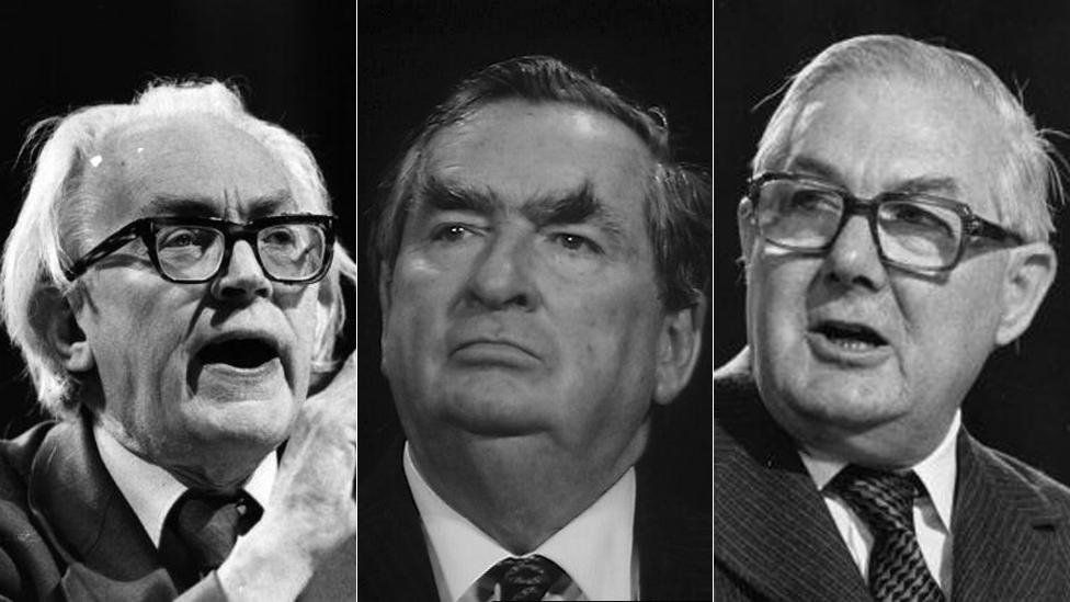 Stock photos of Michael Foot, Denis Healey and James Callaghan