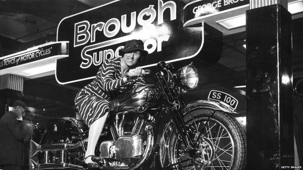 Marjorie Cottle on a Brough Superior motorcycle