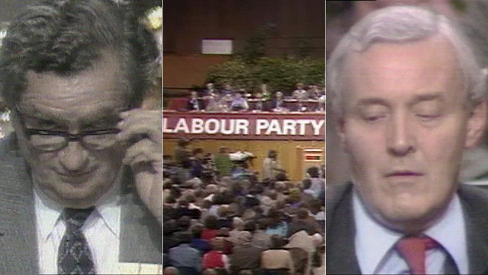 Healey and Benn at deputy leadership contest, party conference