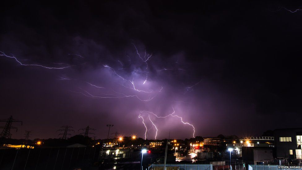 Lightning seen over Crawley, West Sussex