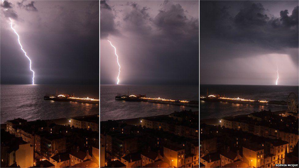 Three images showing lightning striking the sea off Brighton