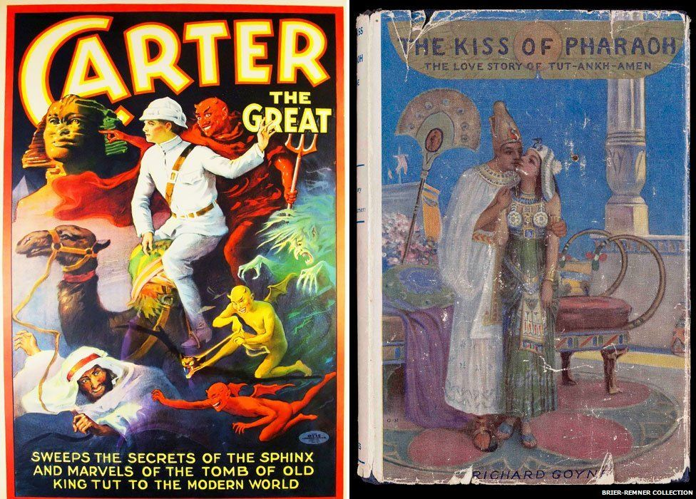 Poster for the stage magician Carter The Great, 1923 (left) and and The Kiss of the Pharaoh: The Love Story of Tut-Ankh-Amen by Richard Goyne, 1923