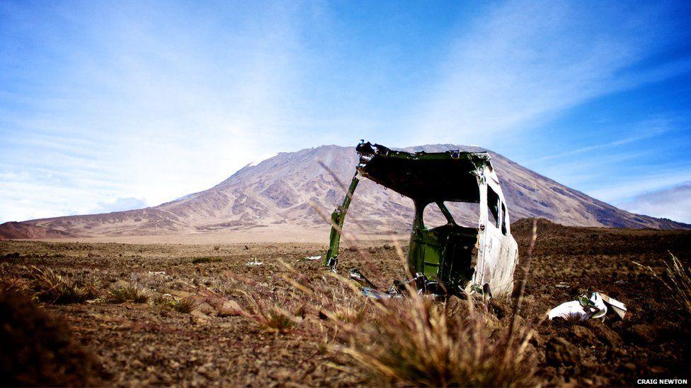 Fuselage of an aeroplane near Mount Kilimanjaro, Tanzania