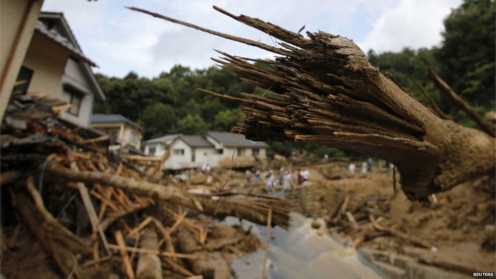 Broken trees are seen at a site where a landslide swept through a residential area at Asaminami ward in Hiroshima, western Japan, on 21 August, 2014
