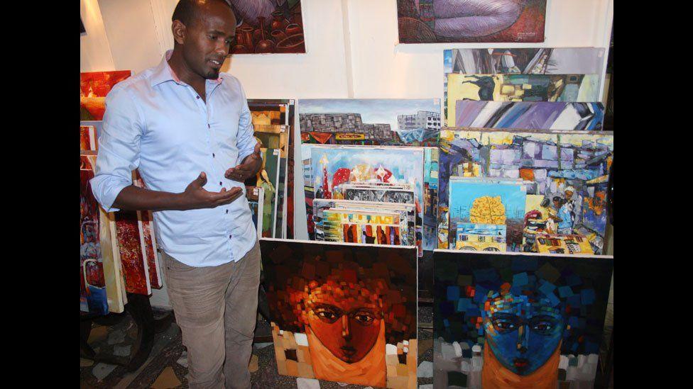 Artist Zekiros Tekelehaimanot at Makush Art Gallery & Restaurant in Addis Ababa, Ethiopia