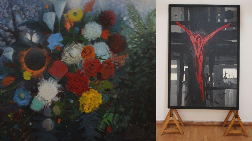 Works on display at Gebre Kristos Desta Center, an Addis Ababa modern art museum in Ethiopia
