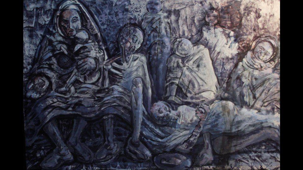 A famine scene is by Gebre Kristos Desta at Gebre Kristos Desta Center, an Addis Ababa modern art museum in Ethiopia