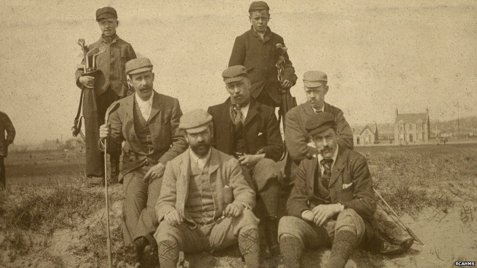 Group of golfers on Carnoustie Championship Course in 1895