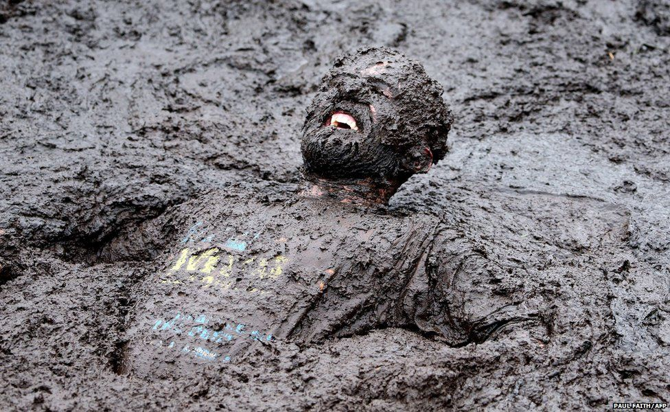 A competitor is seen at the Mud Madness race at Foymore Lodge in Portadown, County Armagh, Ireland
