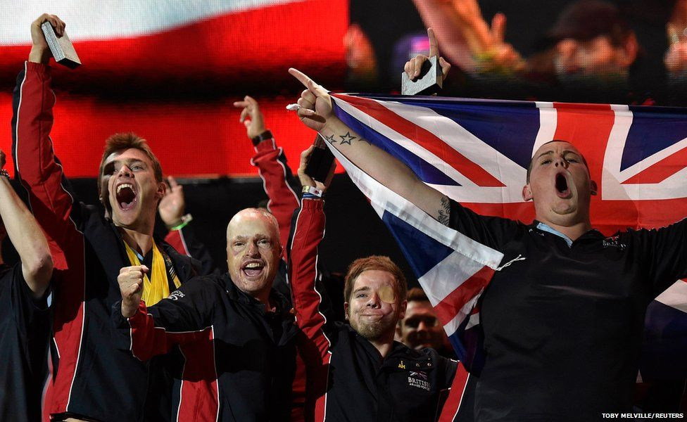 British team members celebrate during the closing ceremony for the Invictus Games at the Olympic Park in east London