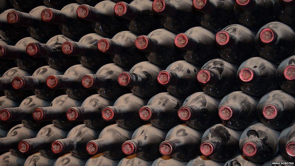 Wine rack in Botega Lopez in Mendoza, Argentina