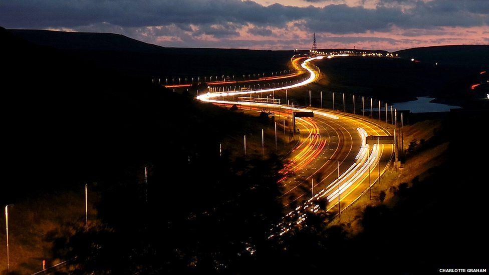 Yorkshire road at night.
