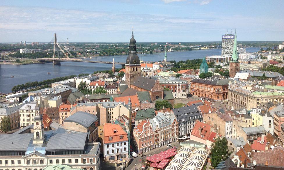 Skyline of the Latvian capital Riga