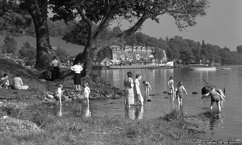 Paddling in the lake