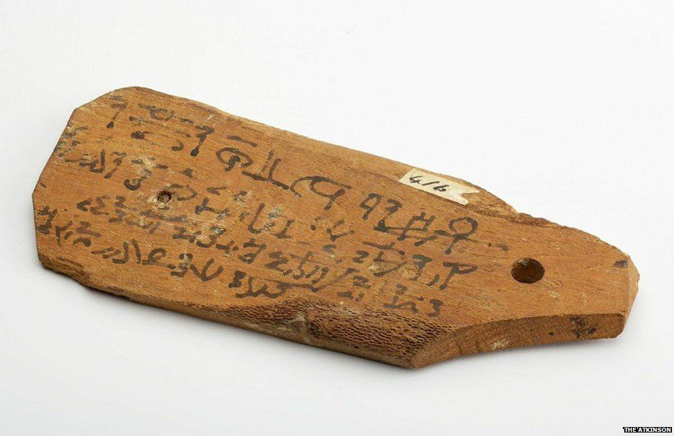 Wooden label for identifying a mummy with Hieratic inscription