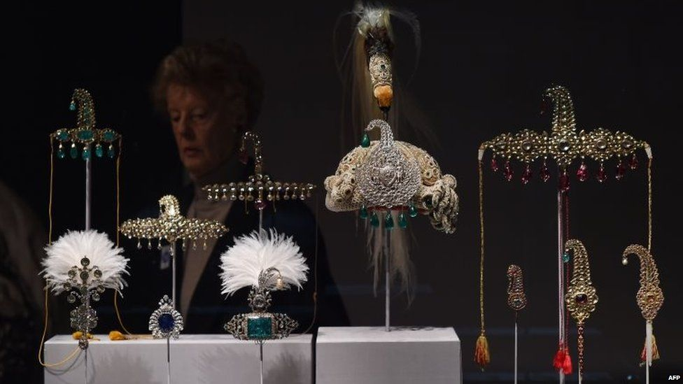 """Jewelled objects are on display during a press preview of an exhibition titled """"Treasures from India, Jewels from the Al-Thani collection"""" at the Metropolitan Museum of Art in New York"""